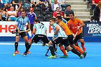 Argentine players Gonzalo Peillat , Juan Lopez and Pedro Ibarra defend their goal during the Hockey World League Semi-Final match between Argentina and Malaysia at the Olympic Park, London, England on 24 June 2017. Photo by Steve McCarthy.