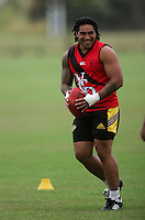 Ma'a Nonu warms up during the Preseason Cross-code Rugby Union v Australian Rules friendly between the Hurricanes and Wellington Tigers at  Elsdon Park, Porirua, New Zealand on Tuesday, 15 January 2008. Photo: Dave Lintott / lintottphoto.co.nz