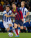 Real Sociedad's Mikel Gonzalez (l) and David Zurutuza (r) and FC Barcelona's Leo Messi during La Copa match.February 12,2014. (ALTERPHOTOS/Mikel)