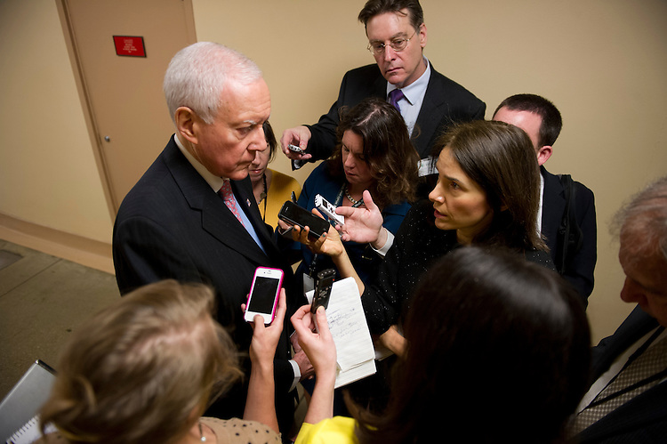 UNITED STATES - May 14: Sen. Orrin Hatch, R-UT., talks to reporters about the Justice Department secretly seizing AP reporters' phone records outside of the weekly Senate luncheon's on May 14, 2013.  (Photo By Douglas Graham/CQ Roll Call)