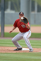 Arizona Diamondbacks first baseman Trevor Mitsui (48) during an Instructional League game against the Los Angeles Angels on October 7, 2014 at Salt River Fields at Talking Stick in Scottsdale, Arizona.  (Mike Janes/Four Seam Images)