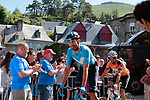 José Joaquín Rojas (ESP) and race leader World Champion Alejandro Valverde (ESP) Movistar Team arrive at sign on before Stage 3 of the Route d'Occitanie 2019, running 173km from Arreau to Luchon-Hospice de France, France. 22nd June 2019<br /> Picture: Colin Flockton | Cyclefile<br /> All photos usage must carry mandatory copyright credit (© Cyclefile | Colin Flockton)