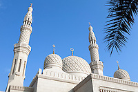 United Arab Emirates, Dubai: Detail of the Jumeirah Mosque domes and minarets