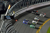 18-19 February, 2016, Daytona Beach, Florida USA<br /> Johnny Sauter takes the checkered flag ahead of Ryan Truex for the win.<br /> ©2016, F. Peirce Williams