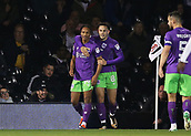 31st October 2017, Craven Cottage, London, England; EFL Championship football, Fulham versus Bristol City; Bobby Reid of Bristol City celebrates scoring his sides 1st goal in the 28th minute with team-mate Josh Brownhill to make it 0-1