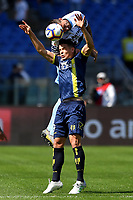 Francesco Acerbi of Lazio and Mariusz Stepinski of AC Chievo Verona compete for the ball during the Serie A 2018/2019 football match between SS Lazio and AC Chievo Verona at stadio Olimpico, Roma, April, 20, 2019 <br /> Photo Antonietta Baldassarre / Insidefoto