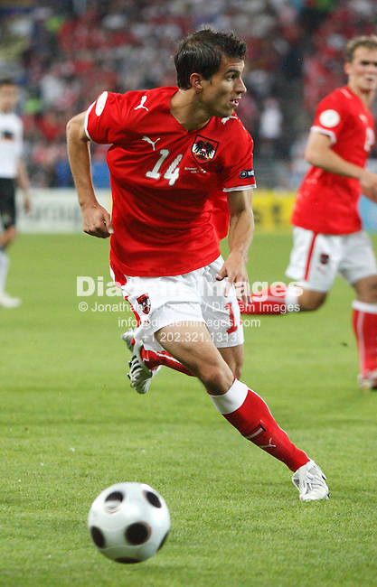 VIENNA - JUNE 16:  György Garics of Austria in action during a UEFA Euro 2008 Group B match against Germany at Ernst Happel Stadion June 16, 2008 in Vienna, Austria.  (Photograph by Jonathan P. Larsen)
