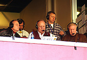Landover, MD - December 22, 2002 -- Frank Herzog, center, calls the action for the Redskins Radio Network in the December 22, 2002 game against the Houston Texans at FedEx Field in Landover, Maryland.  At left is former Redskins and New York Giants Linebacker Sam Huff.  At right is former Redskins and Philadelphia Eagle Quarterback Sonny Jurgensen.  Both Huff and Jurgensen are members of the NFL Hall of Fame..Credit: Ron Sachs / CNP