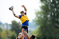 Rhys Davies of Bath United wins the ball at a lineout during the pre-match warm-up. Premiership Rugby Shield match, between Bristol Bears A and Bath United on August 31, 2018 at the Cribbs Causeway Ground in Bristol, England. Photo by: Patrick Khachfe / Onside Images