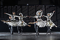 Svetlana Zakharova, the Bolshoi's Prima and the first and only Russian Etoile at Teatro alla Scala, returns to the London Coliseum, with MODANSE, a new double bill produced by Muzarts. Zakharova is joined on stage by a cast of dancers from the Bolshoi Ballet, including Mikhail Lobukhin, Vaycheslav Lopatin, Denis Savin, Jacopo Tissi and Ana Turazashvili. The piece shown is: 'Gabrielle Chanel', choreographed by Yuri Possokhov. The dancers include: Svetlana Zakharova (Gabrielle Chanel), Ana Turazashvili (Chanel's sister/aunt), Mikhail Lobukhin (Etienne Balsan), Jacopo Tissi (Arthur Capel), Denis Savin (Perfumer), Vyacheslav Lopatin (Serge Lifar/Apollo/Golfer). Picture shows: The company.