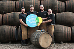 Diageo receives its accreditation as a Living Wage employer for it UK operations. From left: apprentices Andrew Hunter, Calum Hendrie, Kevin Jolly and James Goldie. The barrel park, Alloa Cooperage, Diageo. 01 Sep 2017. Copyright photograph by Tina Norris. <br /> Not to be archived or reproduced without prior permission and payment. Contact Tina on 07775 593 830 info@tinanorris.co.uk www.tinanorris.co.uk http://tinanorris.photoshelter.com