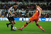 Jacob Murphy of Newcastle United battles with Dan Potts of Luton Town during Newcastle United vs Luton Town, Emirates FA Cup Football at St. James' Park on 6th January 2018