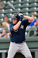 First baseman Dash Winningham (34) of the Columbia Fireflies bats in a game against the Greenville Drive on Wednesday, August 23, 2017, at Fluor Field at the West End in Greenville, South Carolina. Greenville won, 16-5. (Tom Priddy/Four Seam Images)