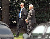 Washington, DC - August 31, 2007 -- United States President George W. Bush and Vice President Dick Cheney depart White House in Washington, D.C. for briefings at the Pentagon on Friday, August 31, 2007. <br /> Credit: Ron Sachs / CNP