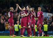 30th September 2017, Stamford Bridge, London, England; EPL Premier League football, Chelsea versus Manchester City; John Stones of Manchester City, Nicolas Otamendi of Manchester City, Fabian Delph of Manchester City, Fernandinho of Manchester City and Danilo of Manchester City celebrate after the final whistle