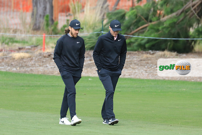 Tommy Fleetwood (ENG) and Russell Henley (USA) in action at Spyglass Hill Golf Course during the second round of the AT&T Pro-Am, Pebble Beach Golf Links, Monterey, USA. 08/02/2019<br /> Picture: Golffile | Phil Inglis<br /> <br /> <br /> All photo usage must carry mandatory copyright credit (© Golffile | Phil Inglis)