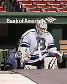 Branden Komm (Bentley - 30) - The Bentley University Falcons defeated the College of the Holy Cross Crusaders 3-2 on Saturday, December 28, 2013, at Fenway Park in Boston, Massachusetts.
