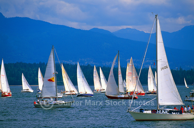 Sailboats sailing in Howe Sound near Vancouver, BC, British Columbia, Canada - Coast Mountains, Winter