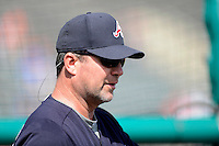 Atlanta Braves coach Roger McDowell #45 during practice before a Spring Training game against the Detroit Tigers at Joker Marchant Stadium on February 27, 2013 in Lakeland, Florida.  Atlanta defeated Detroit 5-3.  (Mike Janes/Four Seam Images)