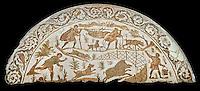 4th century Roman mosaic panel of a boar hunt from Cathage, Tunisia. The Bardo Museum, Tunis, Tunisia. Black background