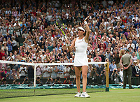 Johanna Konta (6) of Great Britain celebrates her victory against Simona Halep (2) of Romania in their Ladies' Singles Quarter Final Match today - Konta def Halep 6-7, 7-6, 6-4<br /> <br /> Photographer Ashley Western/CameraSport<br /> <br /> Wimbledon Lawn Tennis Championships - Day 8 - Tuesday 11th July 2017 -  All England Lawn Tennis and Croquet Club - Wimbledon - London - England<br /> <br /> World Copyright &not;&copy; 2017 CameraSport. All rights reserved. 43 Linden Ave. Countesthorpe. Leicester. England. LE8 5PG - Tel: +44 (0) 116 277 4147 - admin@camerasport.com - www.camerasport.com