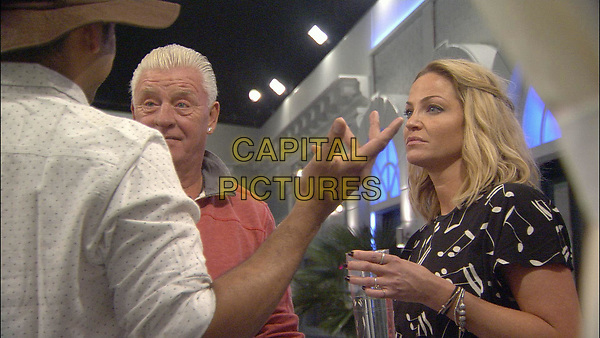 Celebrity Big Brother 2017<br /> Sarah Harding, Karthik Nagesan and Derek Acorah.<br /> *Editorial Use Only*<br /> CAP/KFS<br /> Image supplied by Capital Pictures