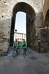 Bardiani CSF riders head to sign on in San Gimignano before the start of the 2014 Strade Bianche race over the white dusty gravel roads of Tuscany, Italy. 8th March 2014.<br /> Picture: Eoin Clarke www.newsfile.ie