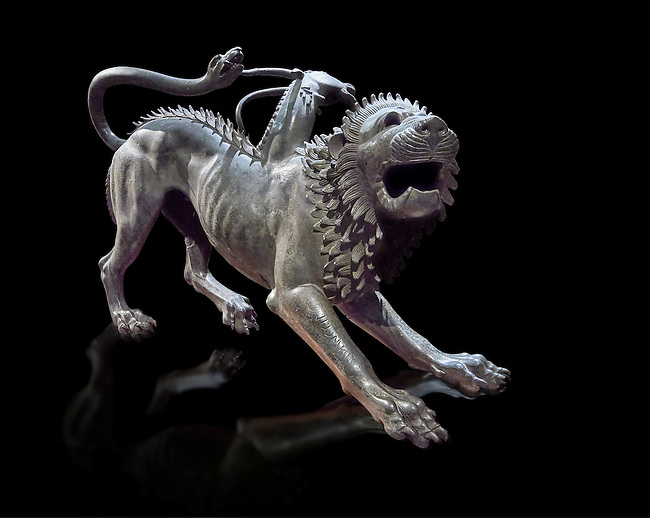 """Etruscan bronce statue of the mythical Chimera known as the  """"Chimera of Arezzo"""" from the St Lorentino Gate of Arezzo, made end of 5th - early 4th century B.C, inv no 1,  National Archaeological Museum Florence, Italy , black background"""