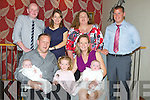 TWINS: Twins Lucy on her fathers lap Joseph Looby, Ciara Looby, Deirdre and baby Killian Looby, (formally of Greenview Terrace now Limerick who had their Twins christened in St John's Church, Tralee on Saturday. Front l-r: Joseph, Lucy, Ciara, Deirdre and Killian Looby. Back Godparents l-r: Donal Crowley, Eimear Digan, Cassandra Looby and Sean Moynihan...