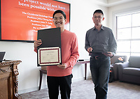 Allen Chen '19<br /> John Chung-En Liu, Assistant Professor, Sociology; Affiliated Faculty, East Asian Studies<br /> Students, faculty and staff gather on Thursday, May 2, 2019 in the JSC Morrison Lounge for the Sociology Senior Comps presentations, awards ceremony, and year-end celebration.<br /> (Photo by Marc Campos, Occidental College Photographer)