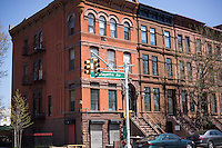 Brownstones in the Bedford-Stuyvesant neighborhood of Brooklyn in New York on Friday, April 26, 2013. (© Richard B. Levine)