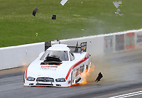 May 20, 2017; Topeka, KS, USA; NHRA funny car driver Jack Wyatt explodes an engine during qualifying for the Heartland Nationals at Heartland Park Topeka. Mandatory Credit: Mark J. Rebilas-USA TODAY Sports