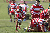Desma Liaina clears the ball from a ruck. Counties Manukau Premier Counties Power Club Rugby game between Karaka and Pukekohe, played at the Karaka Sports Park on Saturday March 10th 2018. Pukekohe won the game 31 - 27 after trailing 5 - 20 at halftime.<br /> Photo by Richard Spranger.