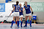 Mannheim, Germany, January 07: During the 1. Bundesliga Damen Hallensaison 2017/18 Sued  hockey match between Mannheimer HC (blue) and Nuernberger HTC (red) on January 7, 2018 at Irma-Roechling-Halle in Mannheim, Germany. Final score 8-1 (HT 5-1). (Photo by Dirk Markgraf / www.265-images.com) *** Local caption *** (L-R) Julia Meffert #97 of Mannheimer HC, Lydia Haase #12 of Mannheimer HC, Sonja Zimmermann #11 of Mannheimer HC