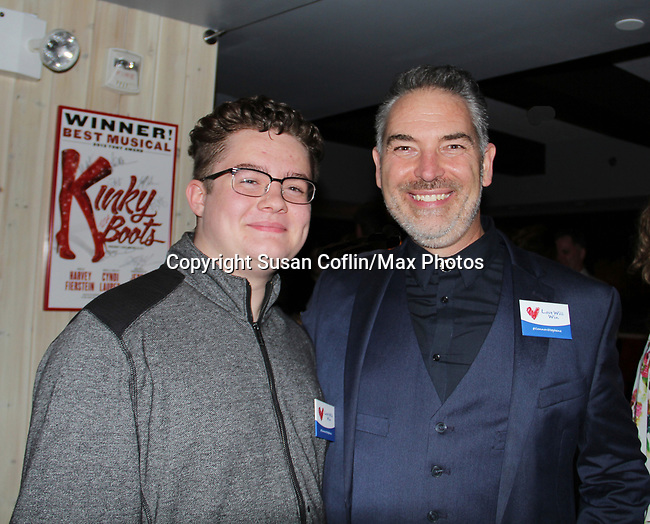 Kameron with Dewey Moss author of The Crusade of Connor Stephens - One Family Under God, Divisible. on opening night at Jerry Orbach Theatre at the Snapple Theatre Center, New York City, New York on June 26, 2017. (Photo by Sue Coflin/Max Photos)