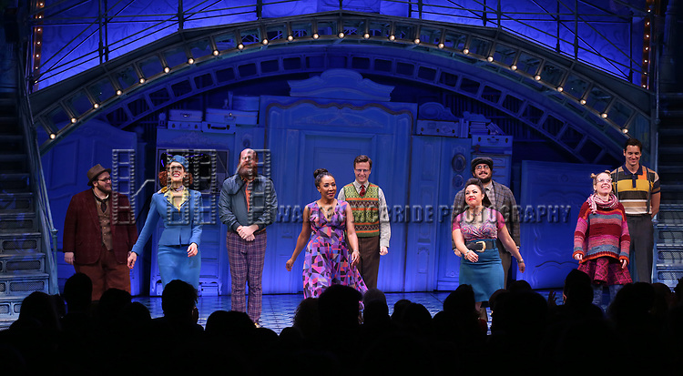 The cast during the Broadway Opening Night Performance Curtain Call for 'Amelie' at the Walter Kerr Theatre on April 3, 2017 in New York City