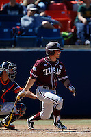 Blake Allemand #1 of the Texas A&M Aggies bats against the Cal State Fullerton Titans at Goodwin Field on March 10, 2013 in Fullerton, California. (Larry Goren/Four Seam Images)