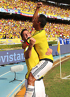 BARRANQUILLA - COLOMBIA -01-09-2016: James Rodriguez jugador de Colombia celebra con Carlos Bacca después de anotar un gol a Venezuela durante partido de la fecha 7 para la clasificación a la Copa Mundial de la FIFA Rusia 2018 jugado en el estadio Metropolitano Roberto Melendez en Barranquilla./  James Rodriguez player of Colombia celebrates with Carlos Bacca after scoring a goal to Venezuela during match of the date 7 for the qualifier to FIFA World Cup Russia 2018 played at Metropolitan stadium Roberto Melendez in Barranquilla. Photo: VizzorImage / Alfonso Cervantes / Cont