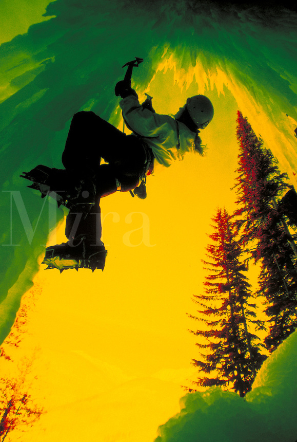 Woman ice climbing in Rocky Mountains, CO - photo in infrared color, East Vail, Colorado.