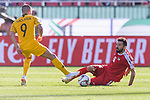Shadi Shaban of Palestine (R) fights for the ball with Jamie Maclaren of Australia (L) during the AFC Asian Cup UAE 2019 Group B match between Palestine (PLE) and Australia (AUS) at Rashid Stadium on 11 January 2019 in Dubai, United Arab Emirates. Photo by Marcio Rodrigo Machado / Power Sport Images