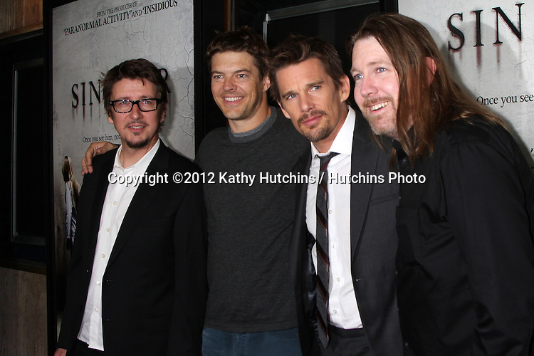 "LOS ANGELES - OCT 30:  Scott Derrickson, Producer Jason Blum, Ethan Hawke, C. Robert Cargill arrives at the ""Sinister""  Los Angeles Screening at Landmark Theater on October 30, 2012 in Westwood, CA"