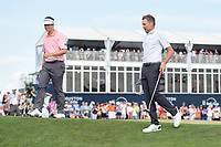 Beau Hossler (USA) and Ian Poulter (GBR) shake hands on 18 following round 4 of the Houston Open, Golf Club of Houston, Houston, Texas. 4/1/2018.<br /> Picture: Golffile | Ken Murray<br /> <br /> <br /> All photo usage must carry mandatory copyright credit (&copy; Golffile | Ken Murray)
