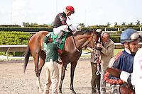Musical Romance(5) with Juan Leyva up wins the G1 Princess Rooney Handicap at Calder Race Course, Miami Gardens Florida. 07-07-2012.  Arron Haggart/Eclipse Sportswire
