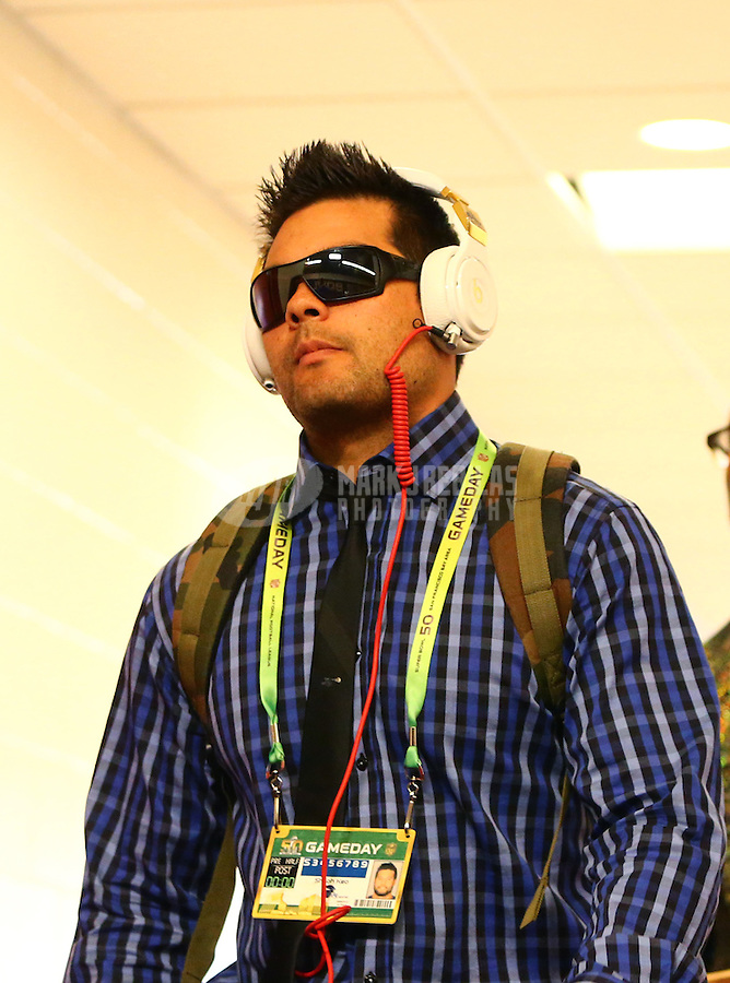 Feb 7, 2016; Santa Clara, CA, USA; Denver Broncos safety Shiloh Keo prior to the game against the Carolina Panthers in Super Bowl 50 at Levi's Stadium. Mandatory Credit: Mark J. Rebilas-USA TODAY Sports