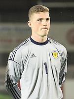Jack Hamilton in the Scotland v Armenia UEFA European Under-19 Championship Qualifying Round match at New Douglas Park, Hamilton on 9.10.12.