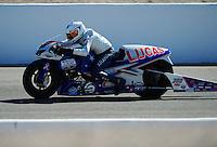 Oct. 29, 2011; Las Vegas, NV, USA: NHRA pro stock motorcycle rider Hector Arana Jr during qualifying for the Big O Tires Nationals at The Strip at Las Vegas Motor Speedway. Mandatory Credit: Mark J. Rebilas-