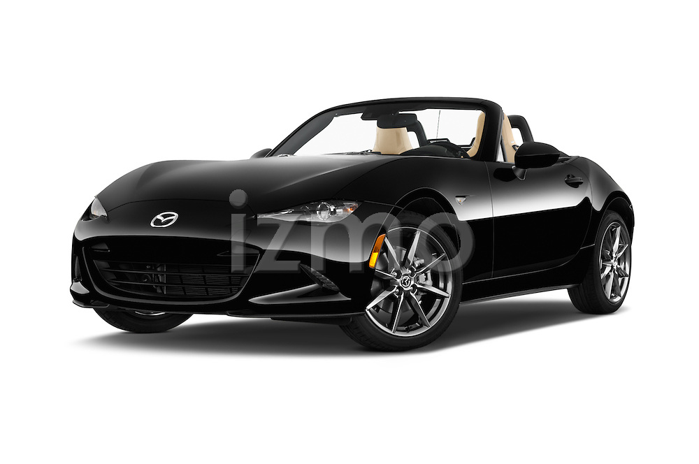 Stock pictures of low aggressive front three quarter view of 2016 Mazda MX-5 Miata Grand Touring 2 Door Convertible Low Aggressive