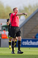 Referee T Kettle points to where the infringement has taken place during Colchester United vs Crawley Town, Sky Bet EFL League 2 Football at the JobServe Community Stadium on 13th October 2018