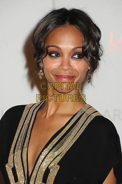Zoe Saldana.The Inaugural Art and Film Gala held at LACMA in Los Angeles, California, USA..November 5th, 2011.headshot portrait black gold.CAP/ADM/BP.©Byron Purvis/AdMedia/Capital Pictures.