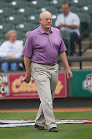 Round Rock Express Principal Owner and Hall of Famer Nolan Ryan on the field before the Pacific Coast League baseball game against the Oklahoma City Redhawks on April 3, 2014 at the Dell Diamond in Round Rock, Texas. The Redhawks defeated the Express 7-6 in the season opener for both teams. (Andrew Woolley/Four Seam Images)